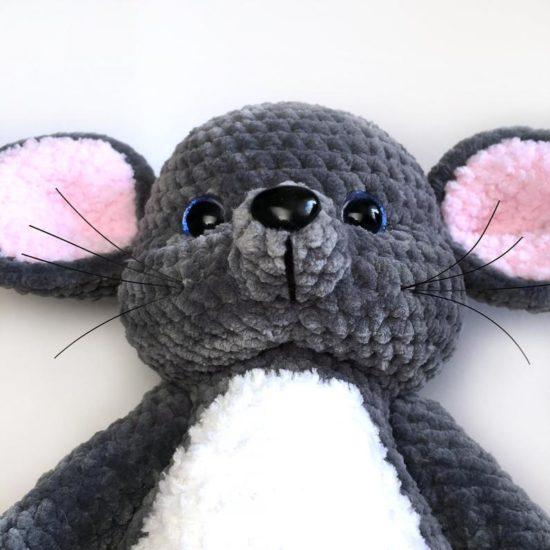 связаная мордочка крючком амигуруми мышки